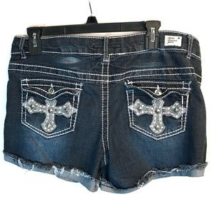Reflex Premium Jeans Shorts Cross Embellished